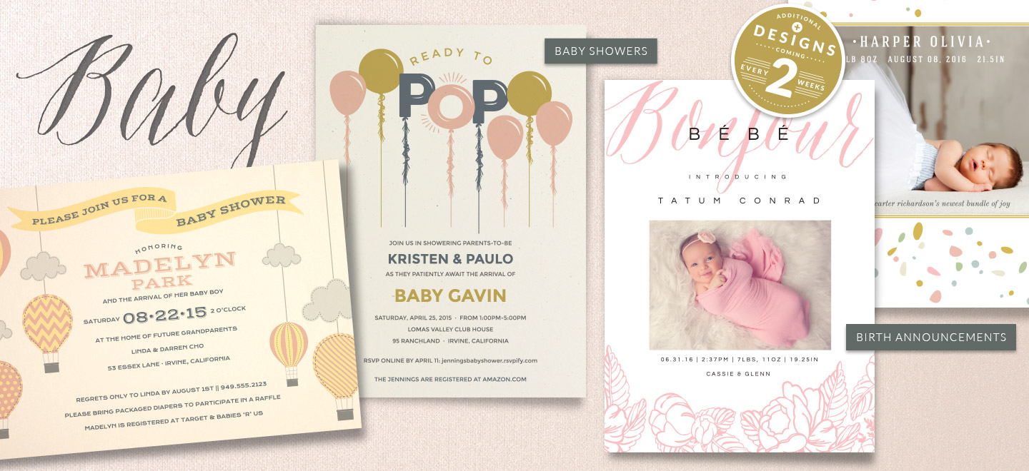 Shop Birth Announcements and Baby Shower Invitations