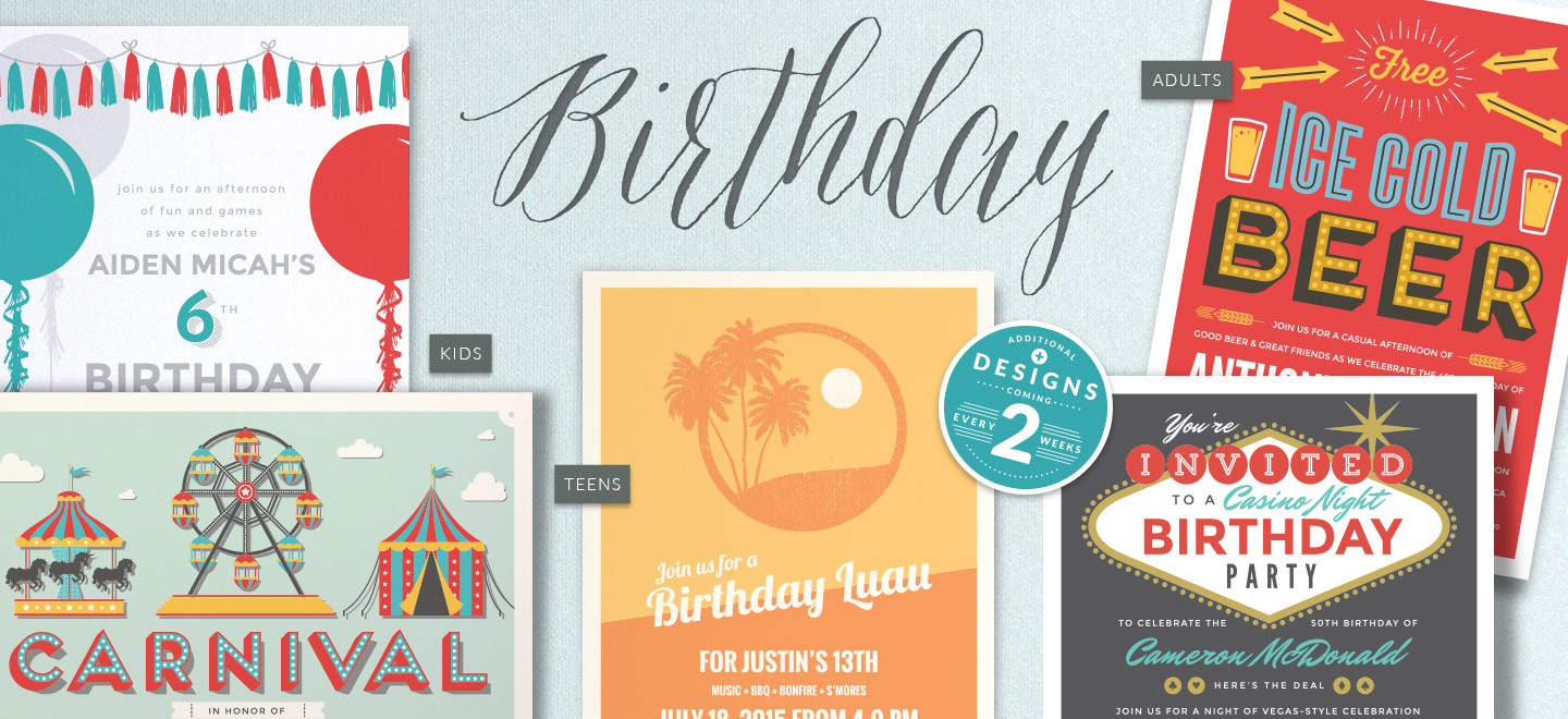 Shop Birthday Invitations for Kids, Teens and Adults
